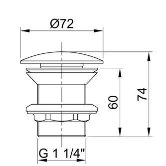 Nicht verschließbare Ablaufgarnitur für Waschtische ohne Überlauf, Edelstahl matt 30-60mm