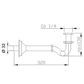 Bidet-Siphon 1'1/4, Abfluss 32mm, Gold