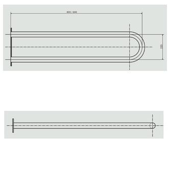 Stützgriff U-Form 600mm, Edelstahl