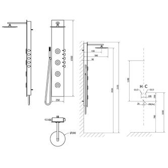 5SIDE ROUND Duschpaneel250x1550mm, 1300 Aluminium