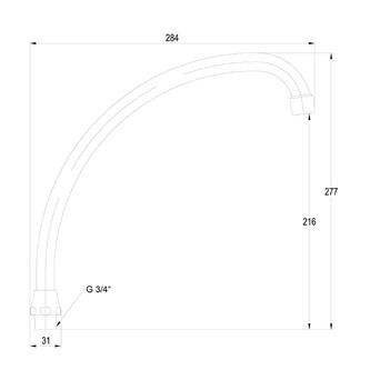 Einlauf J-Form, 3/4'x18x250mm, Chrom