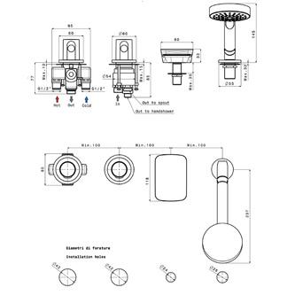 GLAM 4-Loch Thermostat-Wannenarmatur, Chrom
