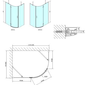 VITRA LINE Duschabtrennung Viertelkreis 1200x900mm, R550, links, Klarglas