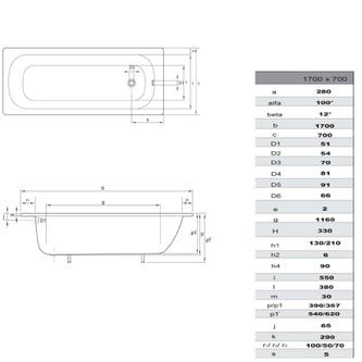 Emaille-Sitzwanne Rechteck 170x70x38cm, weiß