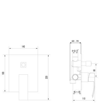 GINKO Unterputz-Duscharmatur , 2 Wege, Chrom