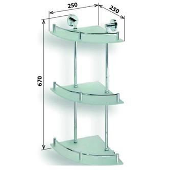 X-ROUND  E Glasablage 3-Fach, mit Reling, 250x670x250mm, Chrom