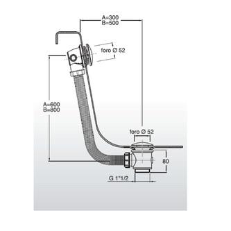 Ablaufgarnitur ohne Einlauf, klick-klack, Länge 900mm, Stöpseldurchmesser 72mm, Chrom