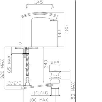 FLO Waschtischarmatur 185mm mit Ablaufgarniturgarnitur, Chrom