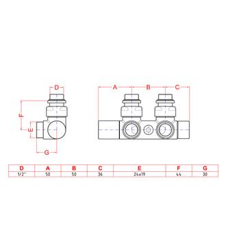 TWIN Badheizkörper-Anschlussgarnitur für Mittelanschluss, 50mm, rechts, Chrom