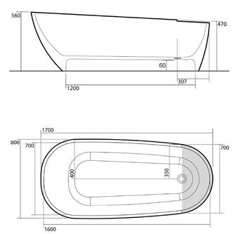 AQUATECH Badewanne 170x56x70cm