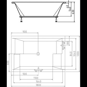 DUPLA Badewanne mit Rahmengestell 180x120x54cm, weiß