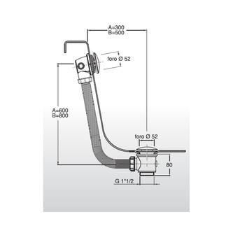 MODEL U2 Ablaufgarnitur ohne Einlauf, klick-klack, L. 900mm, Stopfen 72mm, Chrom