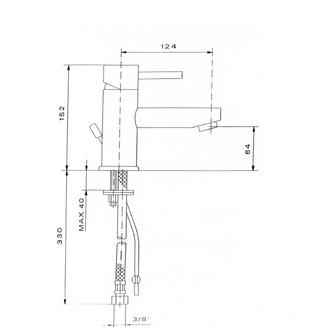 RHAPSODY Waschtischarmatur ohne Ablaufgarnitur, Höhe 152mm, Chrom