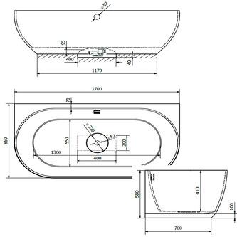 PAGODA Badewanne 170x85x58cm, weiß