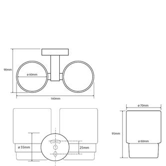 X-ROUND Doppelglashalter, Chrom