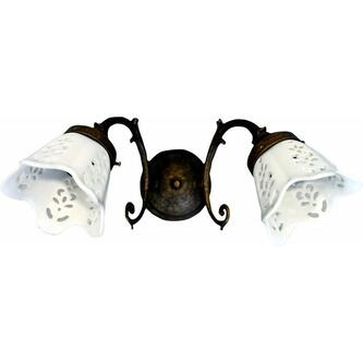 BRINDISI Lampe E14 2x40W, 230V, Keramikschirm, bronze