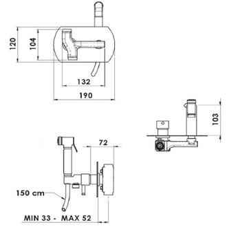 RHAPSODY Unterputz -Armatur mit WC-Handbrause, rund, Chrom