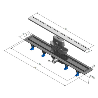 ROAD Kunststoff-Duschrinne mit Edelstahl-Rost, L-720 mm