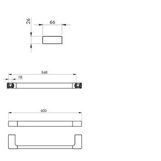 PIRENEI Handtuchhalter 600x66mm, Chrom