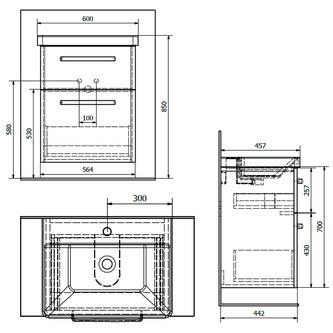 THEIA Unterschrank 56,4x70x43,5cm, 2xSchublade, Silbereiche