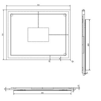 MITRA Spiegel im Rahmen 92x72x4cm, bordeaux