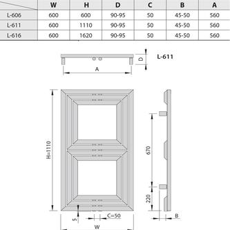 LIBRA DUAL Heizkörper 600x1110mm, 694 W, silber strukturell