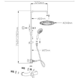 KASIOPEA Duschsäule, 730-1240mm , Chrom
