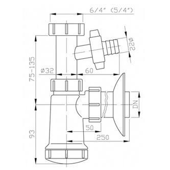 Waschtisch-Siphon mit Überwurfmutter und mit Abzweig 5/4', Abfluss 40mm, Plast