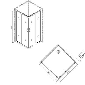 SIGMA Duschabtrennung Quadrat 900x900mm, Klarglas
