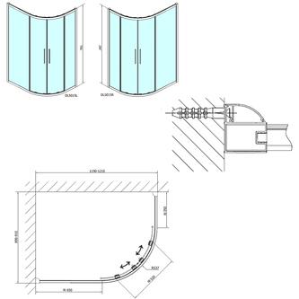 LUCIS LINE Duschabtrennung Viertelkreis 1200x900mm, rechts