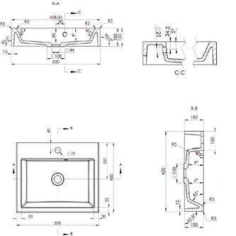 ORINOKO Gussmarmor-Waschtisch 50x10x42cm, weiß