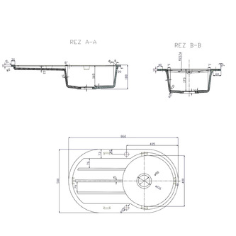 Granitspüle mit Abtropffläche 86x50 cm, beige