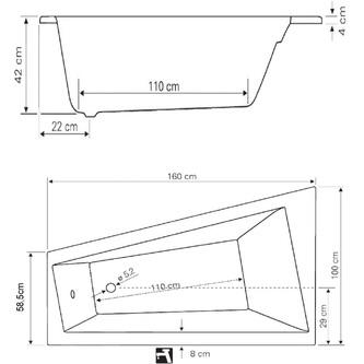 Raumspar Badewanne 160x100x42cm, ohne Füße, links, weiß