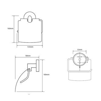 X-STEEL Toilettenpapierhalter mit Deckel, gebürsteter Edelstahl