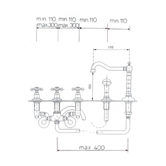 ANTEA 5-Loch - Wannenarmatur mit Retro-Einlauf, bronze