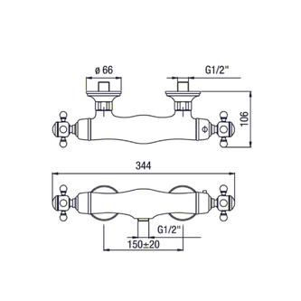 SASSARI Thermostat-Armatur, bronze