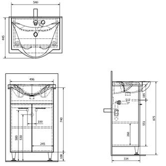 KERAMIA FRESH Unterschrank 51,1x74x34cm, weiß