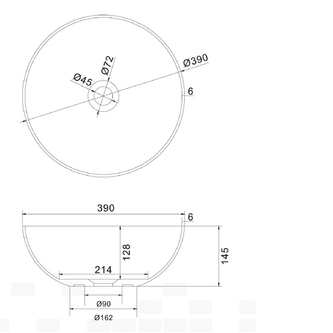 THIN Waschtisch zum Aufsetzen, rund, 390x145 mm, weiß matt