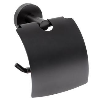 DARK Toilettenpapierhalter mit Deckel, schwarz