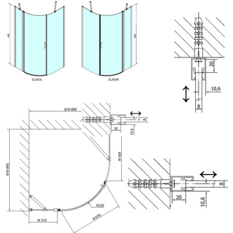 ZOOM LINE Duschabtrennung Viertelkreis 900x900mm, Klarglas, links