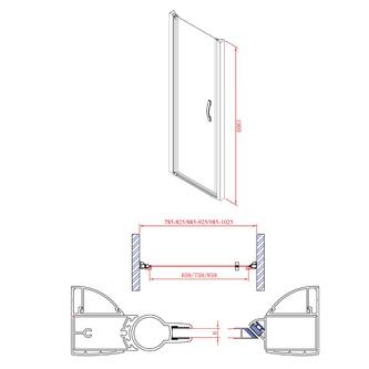 ONE Duschtür für Nische 800 mm, Klarglas