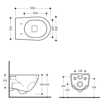 AQUATECH Hänge-WC, Rimless, 36,5x55cm