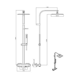 DIMY Duschsäule mit Thermostat-Armatur, schwarz