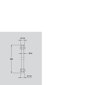 Urinal-Rohr inkl. Mutter, 1/2', Durchmesser 12x300mm, Chrom