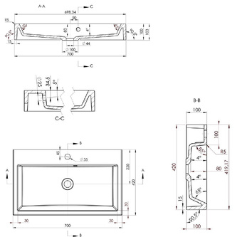 ORINOKO Gussmarmor-Waschtisch 70x10x42cm, weiß
