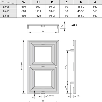 DUPOLI Heizkörper 600x1110mm, 556 W, Anthrazit
