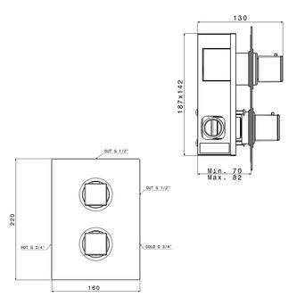DIMY Thermostat-Duscharmatur , 2 Wege, schwarz