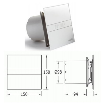 E-100 G axial Badventilator, 8W, Rohrleitung 100 mm, silber