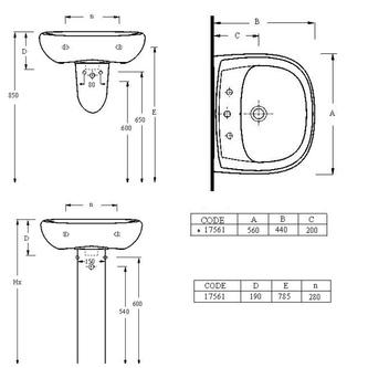 Keramik-Waschtisch 56x44cm