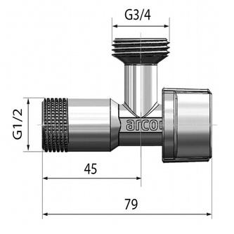 """Waschmaschinenventil L-85 1/2""""x3/4"""", mit Anticalc-System, chrom"""